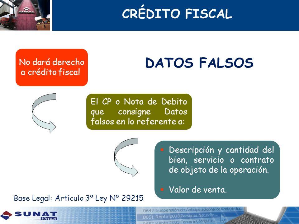 DATOS FALSOS CRÉDITO FISCAL No dará derecho a crédito fiscal