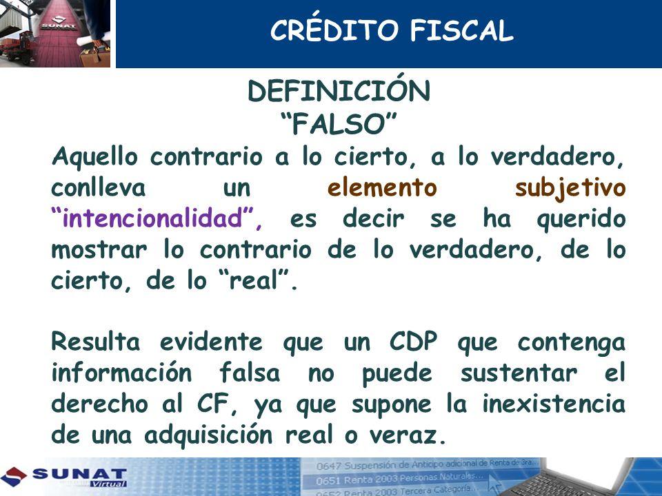 CRÉDITO FISCAL DEFINICIÓN FALSO