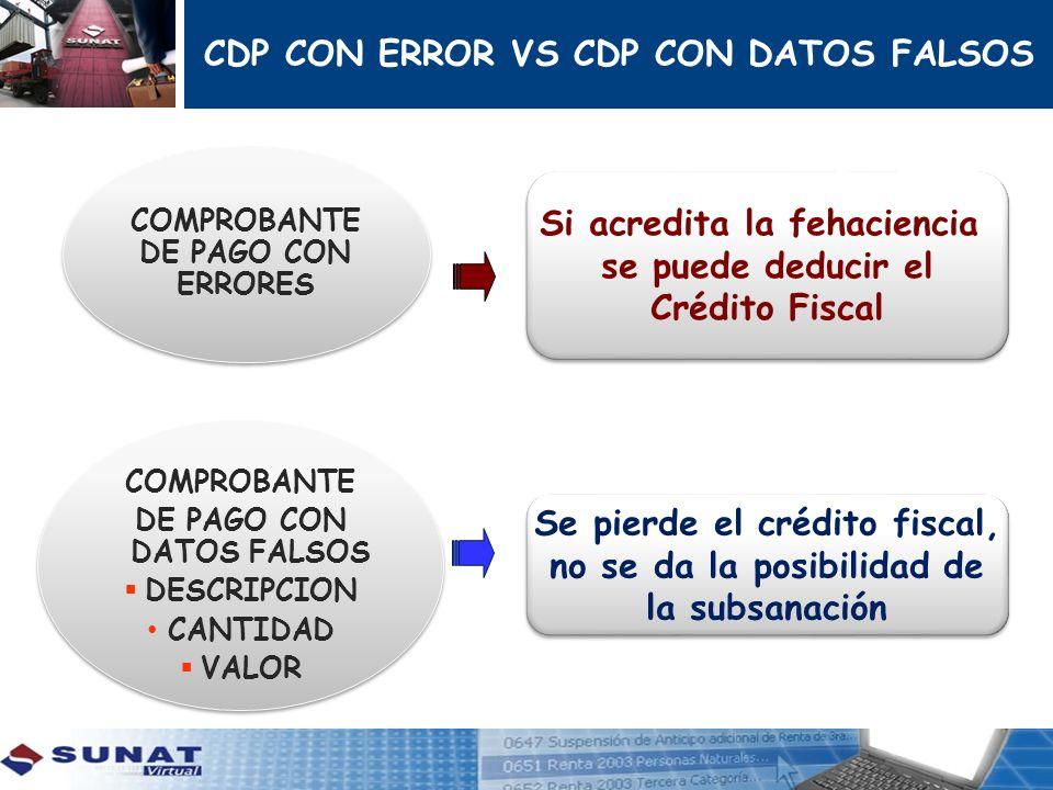 CDP CON ERROR VS CDP CON DATOS FALSOS