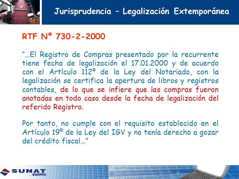 Jurisprudencia – Legalización Extemporánea