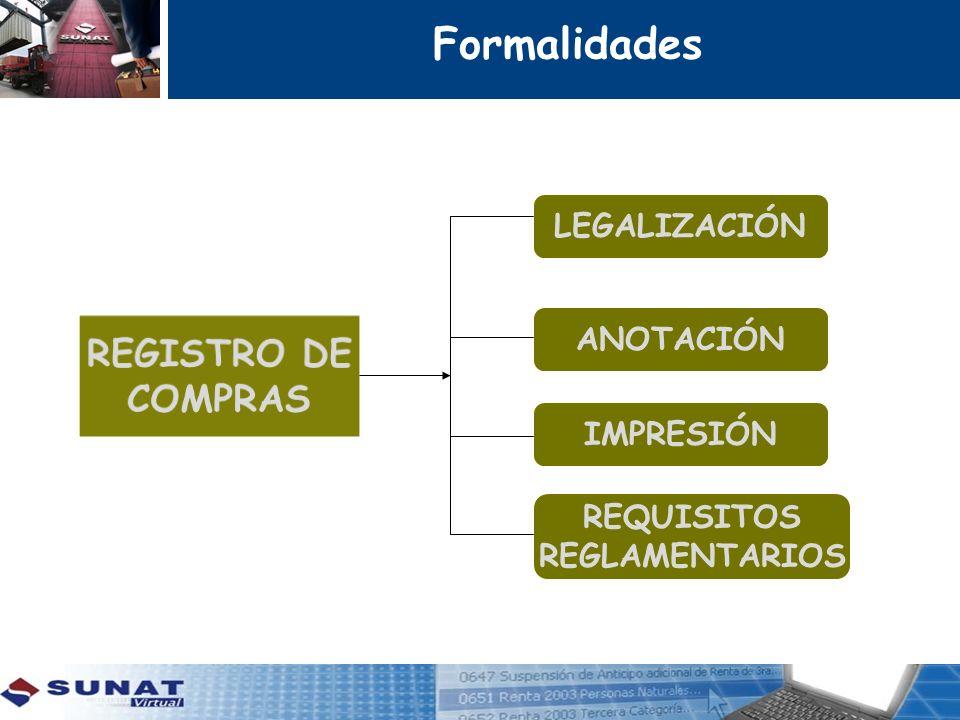 Formalidades REGISTRO DE COMPRAS LEGALIZACIÓN ANOTACIÓN IMPRESIÓN