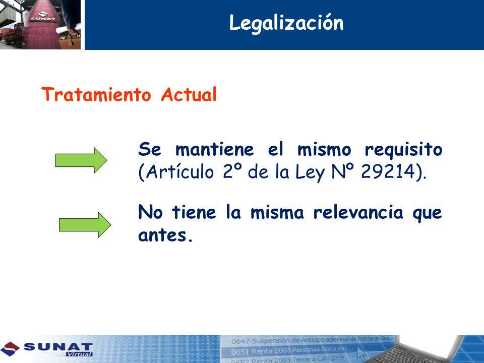 Legalización Tratamiento Actual Se mantiene el mismo requisito (Artículo 2º de la Ley Nº 29214).