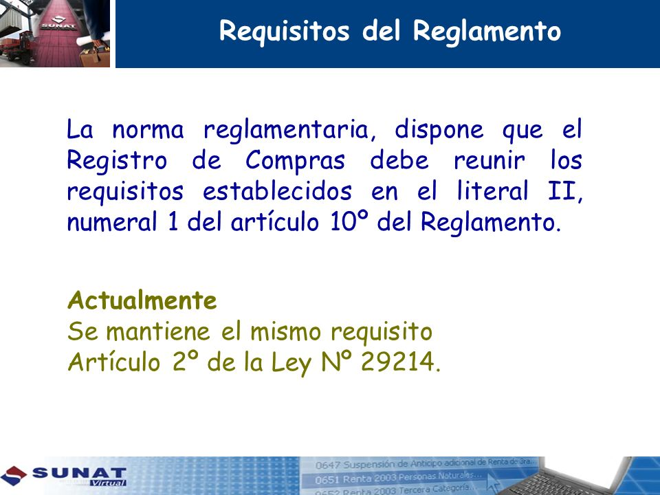 Requisitos del Reglamento