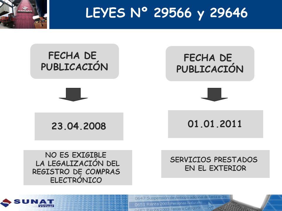 LEYES Nº 29566 y 29646 FECHA DE FECHA DE PUBLICACIÓN PUBLICACIÓN