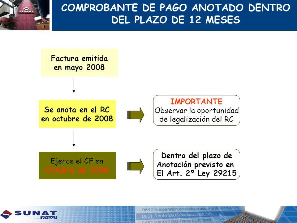 COMPROBANTE DE PAGO ANOTADO DENTRO DEL PLAZO DE 12 MESES
