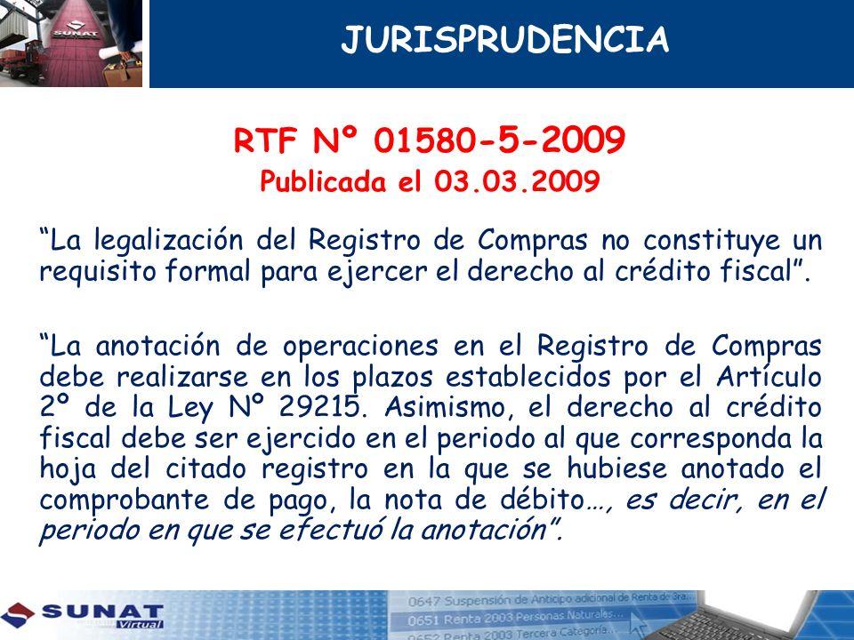 JURISPRUDENCIA RTF Nº 01580-5-2009 Publicada el 03.03.2009
