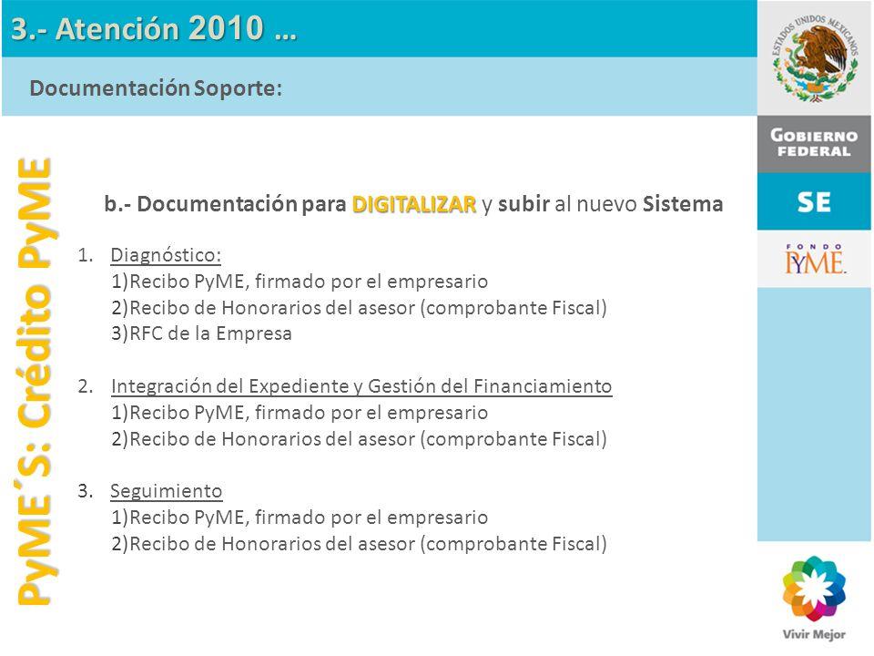 PyME´S: Crédito PyME 3.- Atención 2010 … Documentación Soporte: