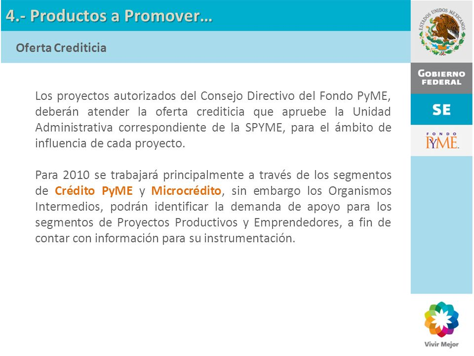 4.- Productos a Promover…