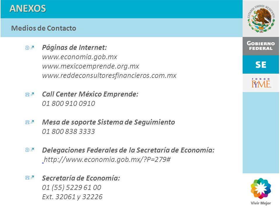 ANEXOS Medios de Contacto Páginas de Internet: www.economia.gob.mx