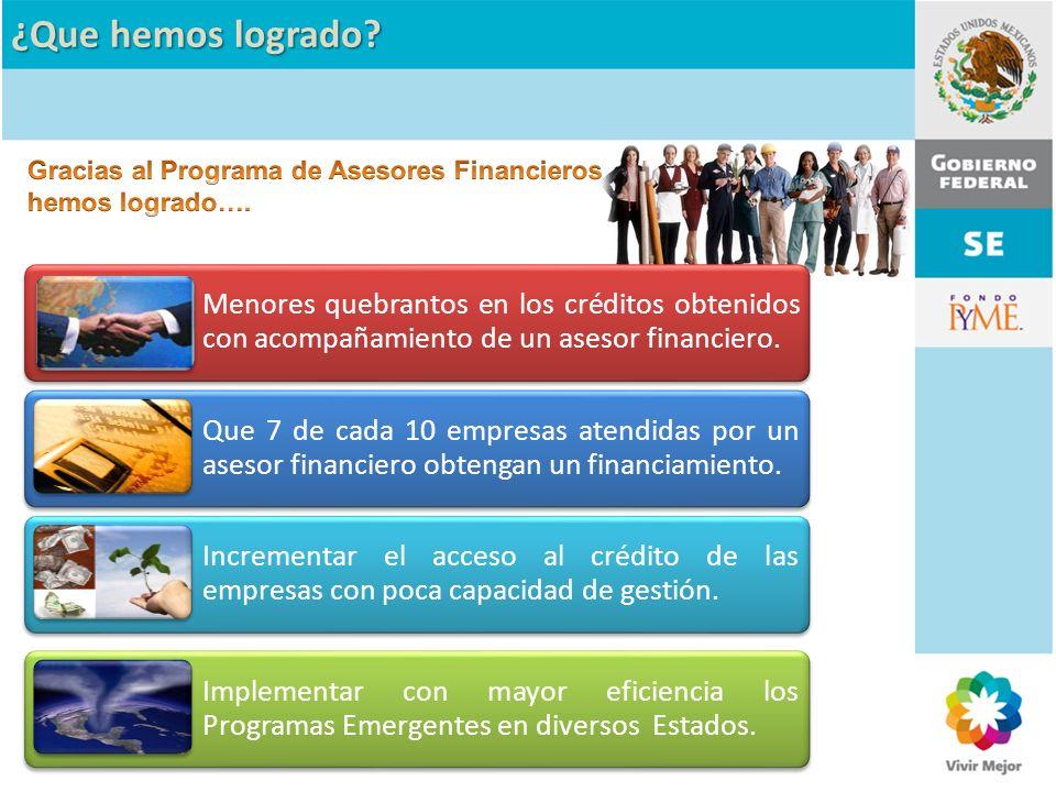 ¿Que hemos logrado Gracias al Programa de Asesores Financieros hemos logrado….