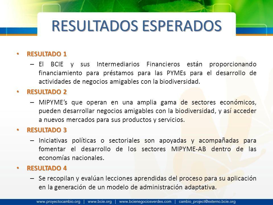 RESULTADOS ESPERADOS RESULTADO 1