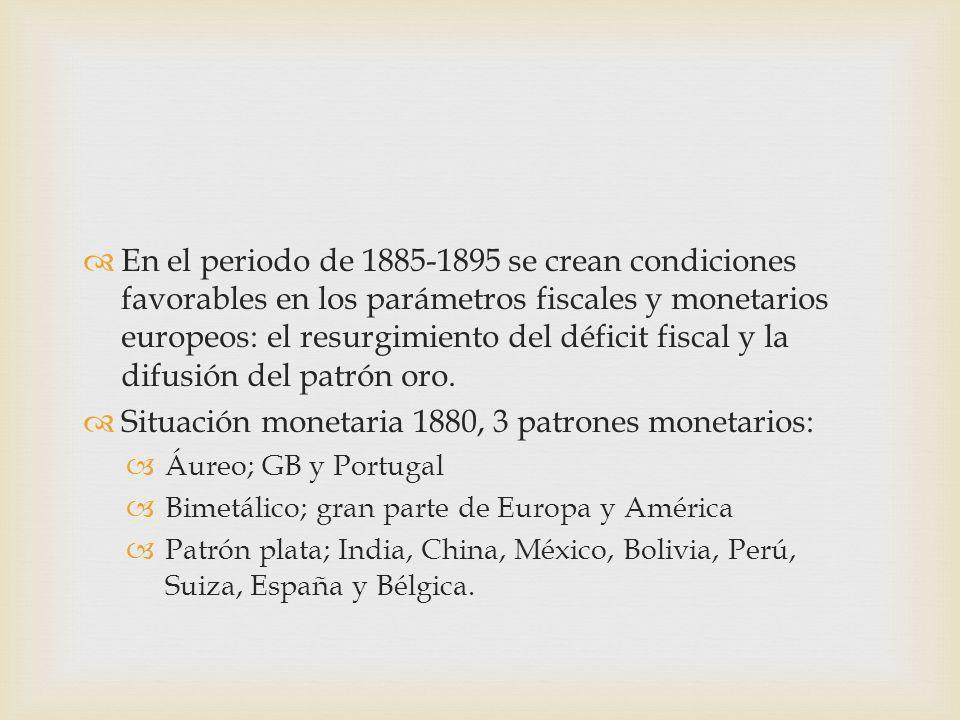 Situación monetaria 1880, 3 patrones monetarios: