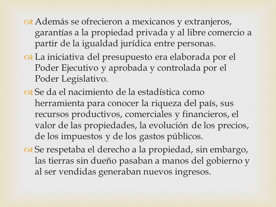Además se ofrecieron a mexicanos y extranjeros, garantías a la propiedad privada y al libre comercio a partir de la igualdad jurídica entre personas.