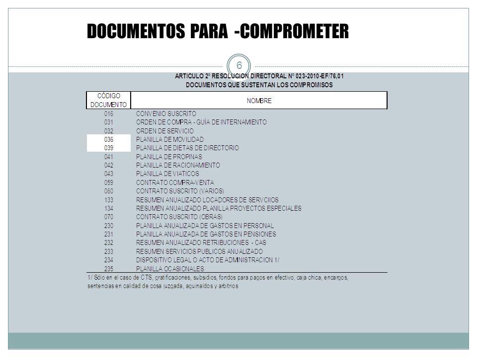 DOCUMENTOS PARA -COMPROMETER