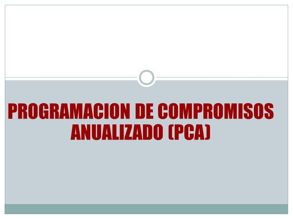 PROGRAMACION DE COMPROMISOS ANUALIZADO (PCA)