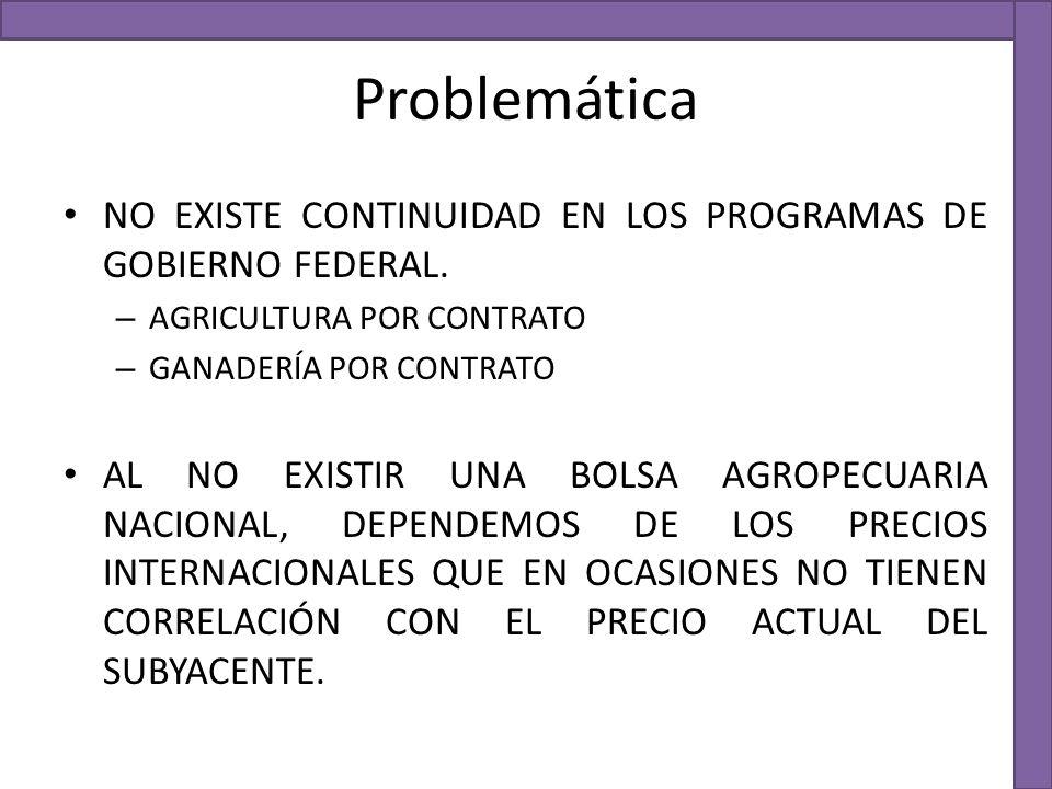 Problemática NO EXISTE CONTINUIDAD EN LOS PROGRAMAS DE GOBIERNO FEDERAL. AGRICULTURA POR CONTRATO.