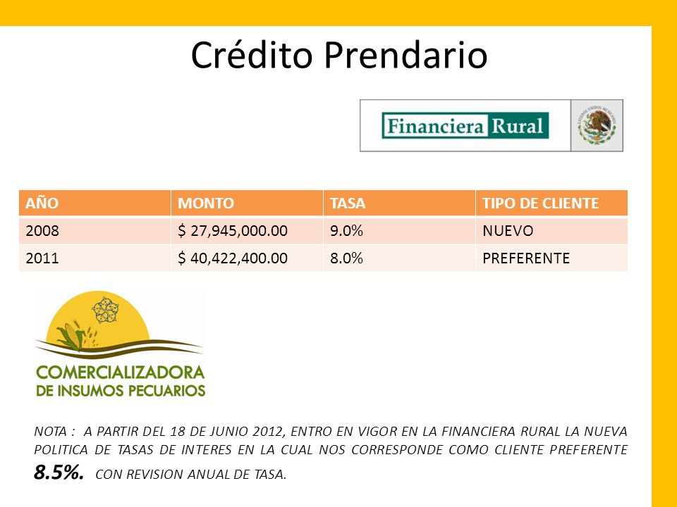 Crédito Prendario AÑO MONTO TASA TIPO DE CLIENTE 2008 $ 27,945,000.00