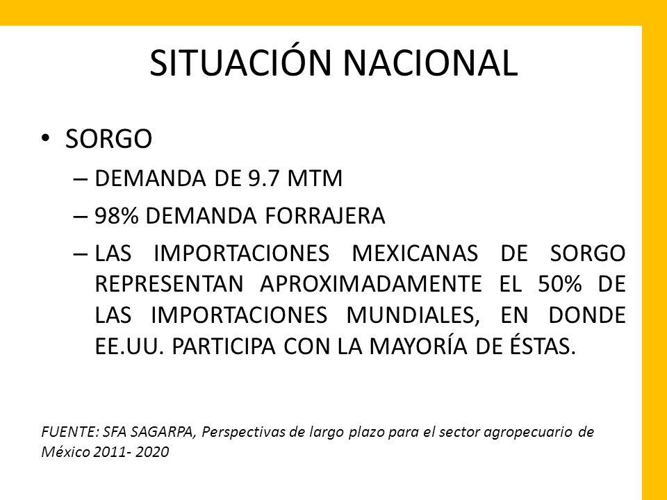 SITUACIÓN NACIONAL SORGO DEMANDA DE 9.7 MTM 98% DEMANDA FORRAJERA