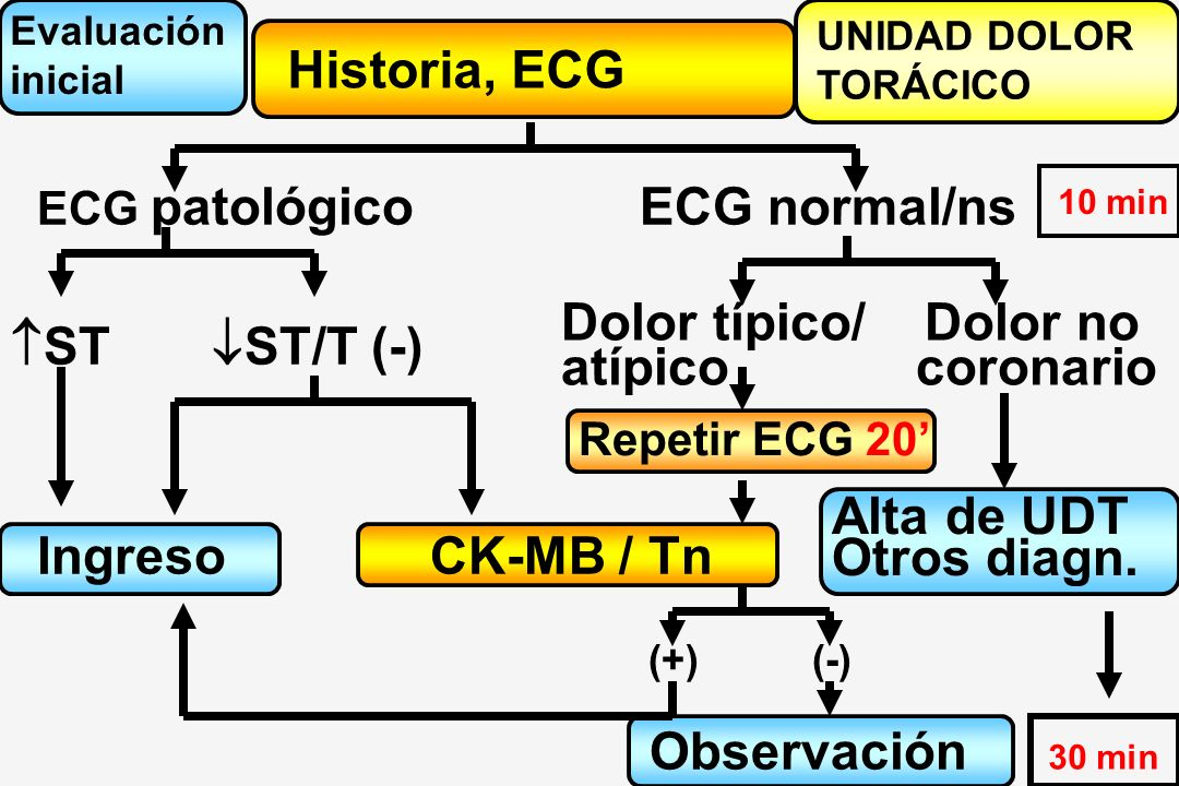 Historia, ECG ECG normal/ns Dolor típico/ Dolor no ST ST/T (-)