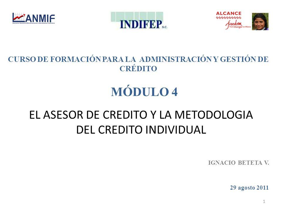 EL ASESOR DE CREDITO Y LA METODOLOGIA DEL CREDITO INDIVIDUAL