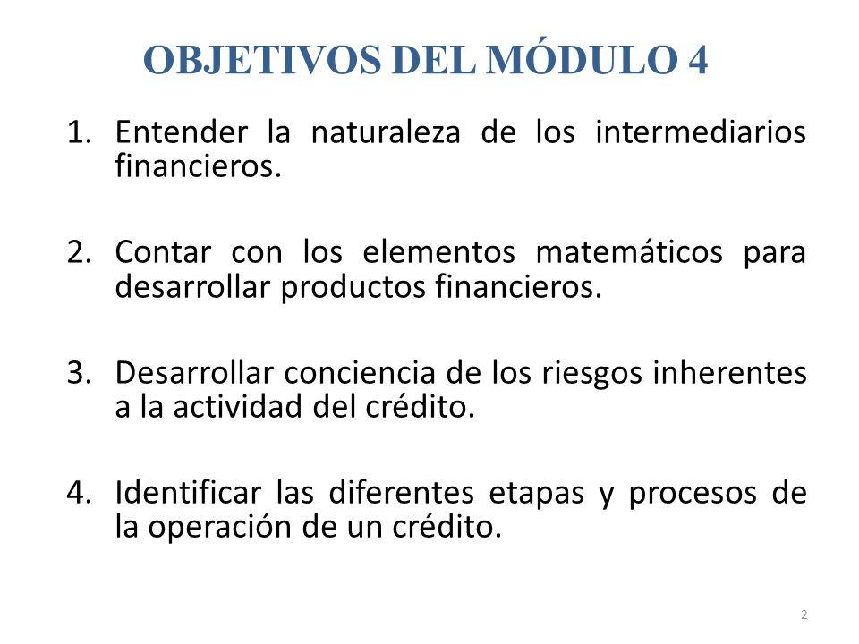 OBJETIVOS DEL MÓDULO 4 Entender la naturaleza de los intermediarios financieros.