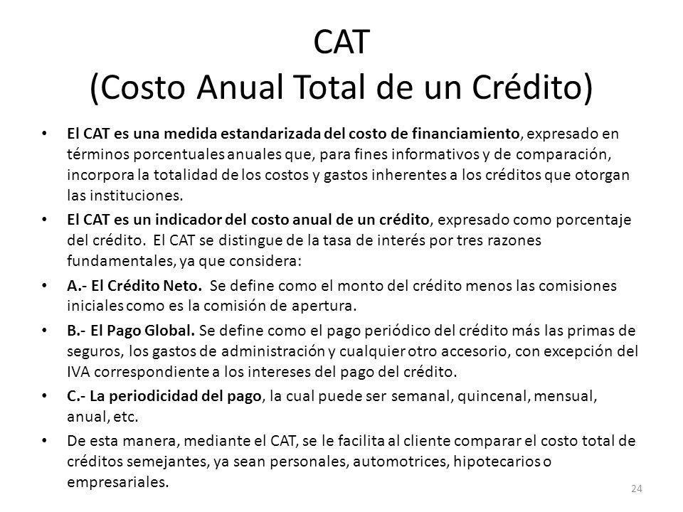 CAT (Costo Anual Total de un Crédito)