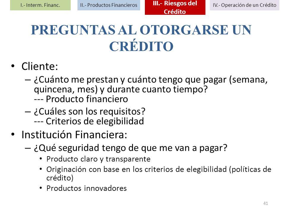 III.- Riesgos del Crédito PREGUNTAS AL OTORGARSE UN CRÉDITO