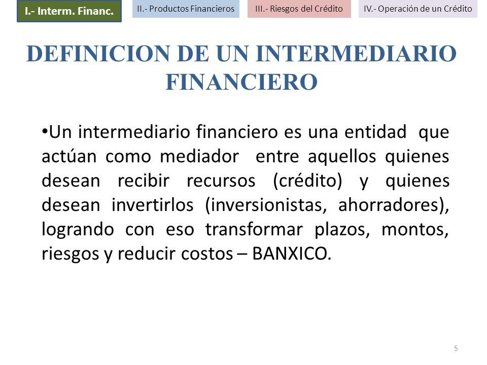 DEFINICION DE UN INTERMEDIARIO FINANCIERO
