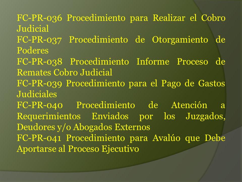 FC-PR-036 Procedimiento para Realizar el Cobro Judicial
