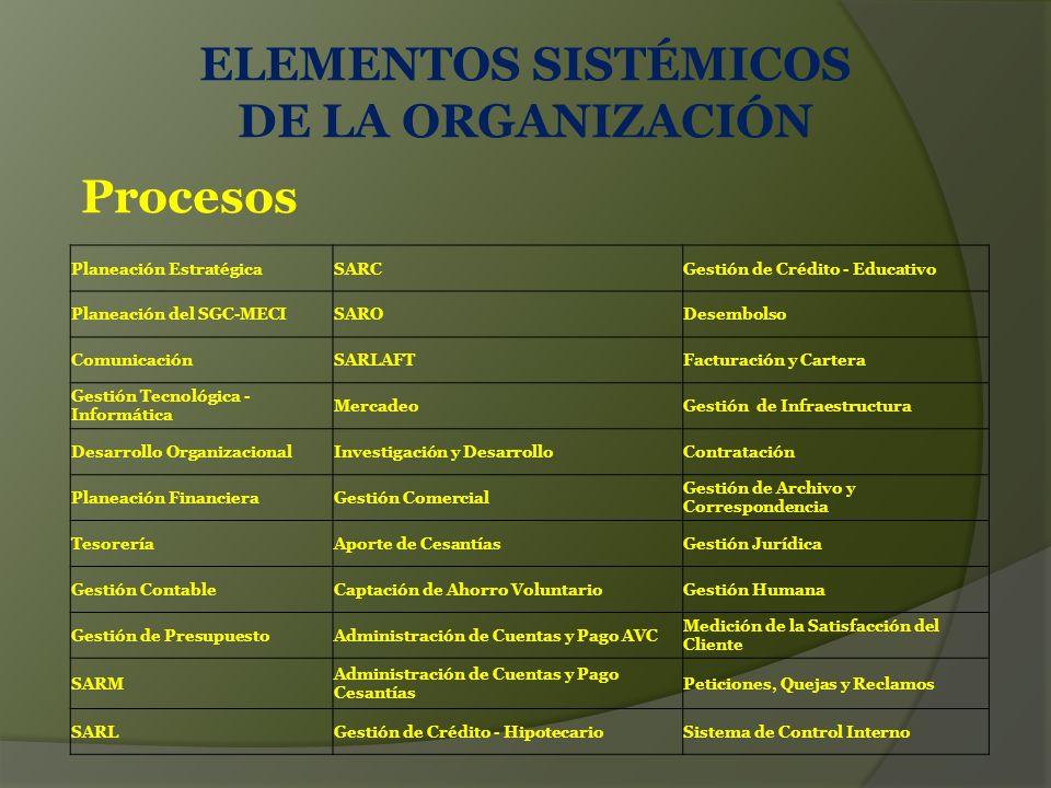 ELEMENTOS SISTÉMICOS DE LA ORGANIZACIÓN
