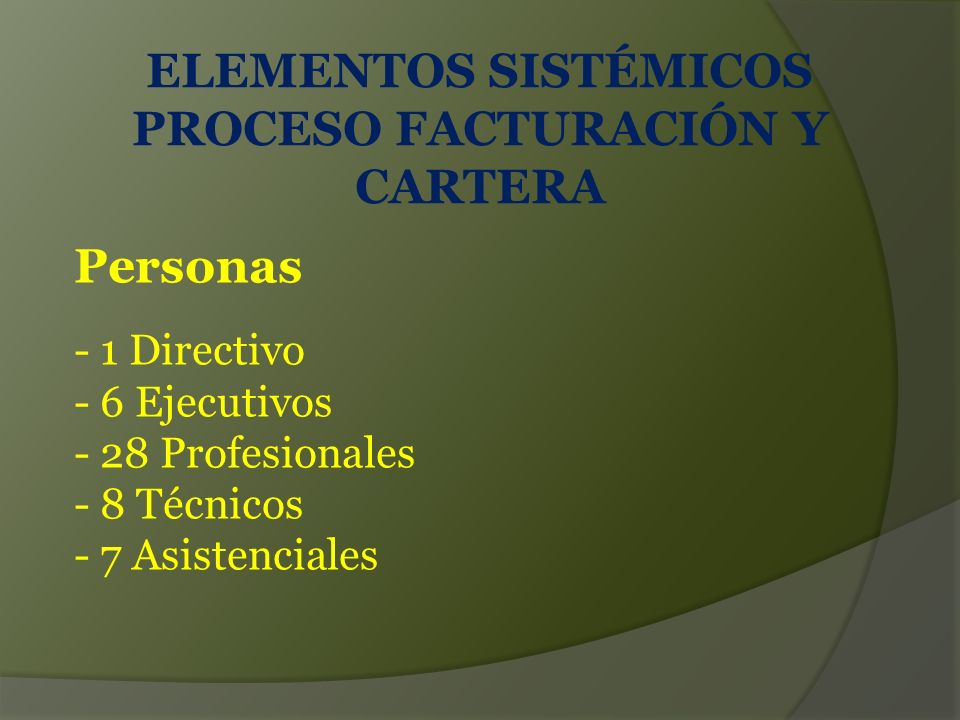 ELEMENTOS SISTÉMICOS PROCESO FACTURACIÓN Y CARTERA
