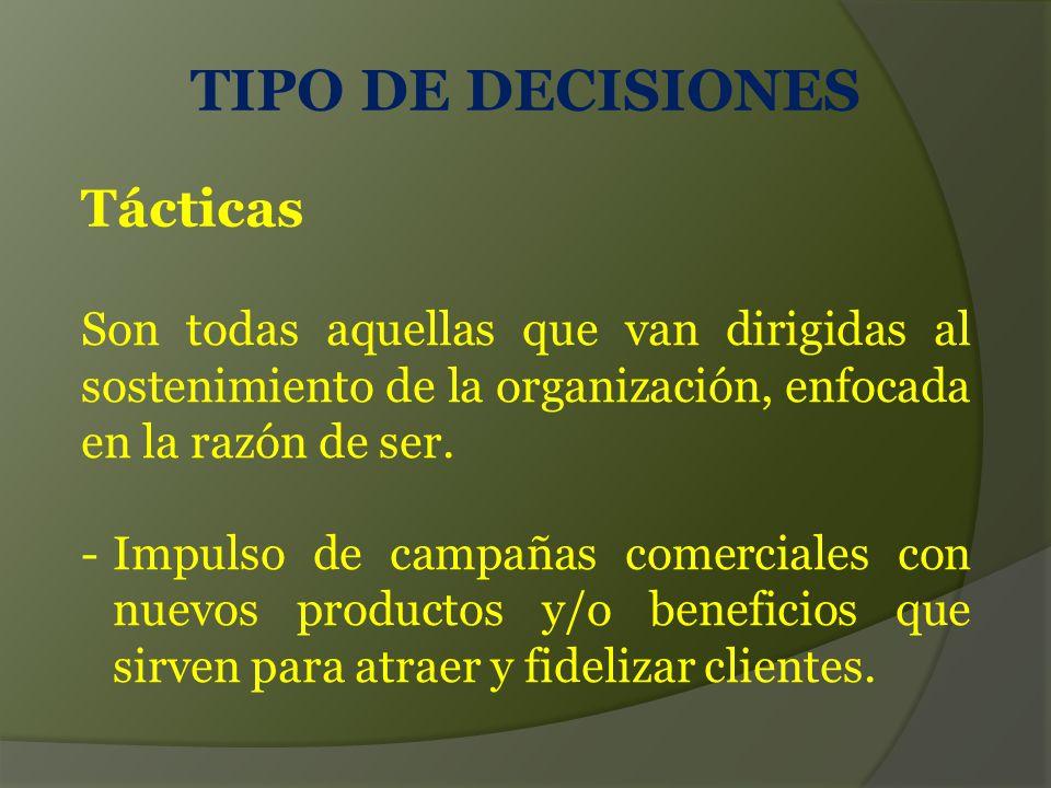 TIPO DE DECISIONES Tácticas