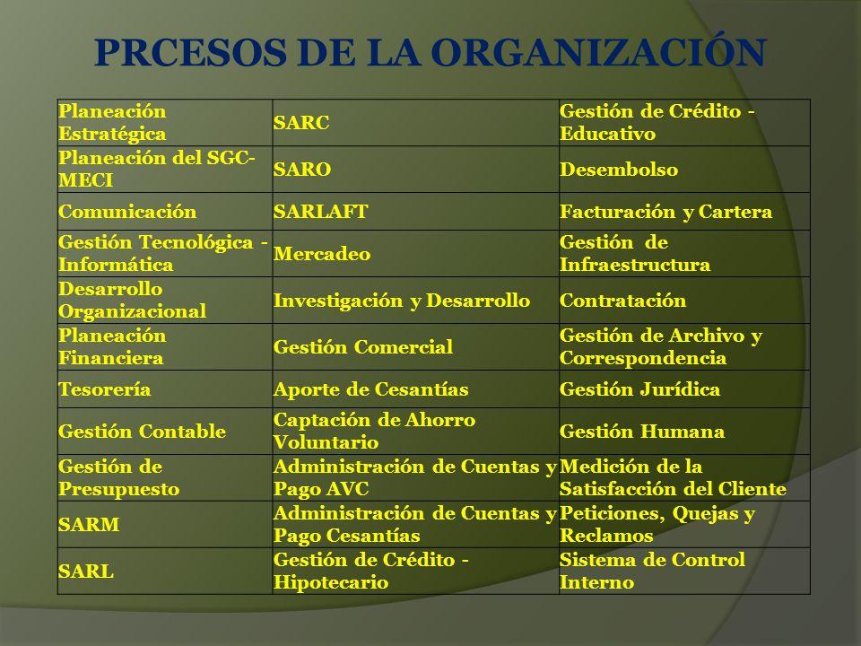 PRCESOS DE LA ORGANIZACIÓN