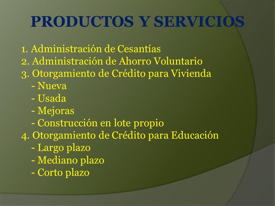PRODUCTOS Y SERVICIOS 1. Administración de Cesantías 2. Administración de Ahorro Voluntario 3. Otorgamiento de Crédito para Vivienda.