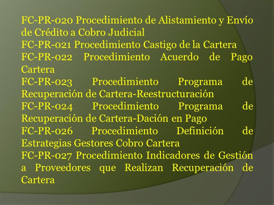 FC-PR-020 Procedimiento de Alistamiento y Envío de Crédito a Cobro Judicial