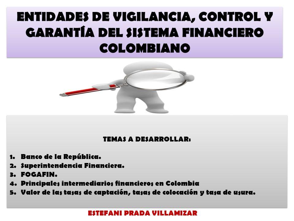 ENTIDADES DE VIGILANCIA, CONTROL Y GARANTÍA DEL SISTEMA FINANCIERO COLOMBIANO