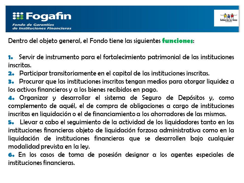Dentro del objeto general, el Fondo tiene las siguientes funciones: