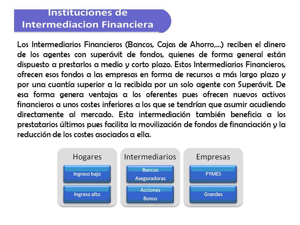 Los Intermediarios Financieros (Bancos, Cajas de Ahorro,