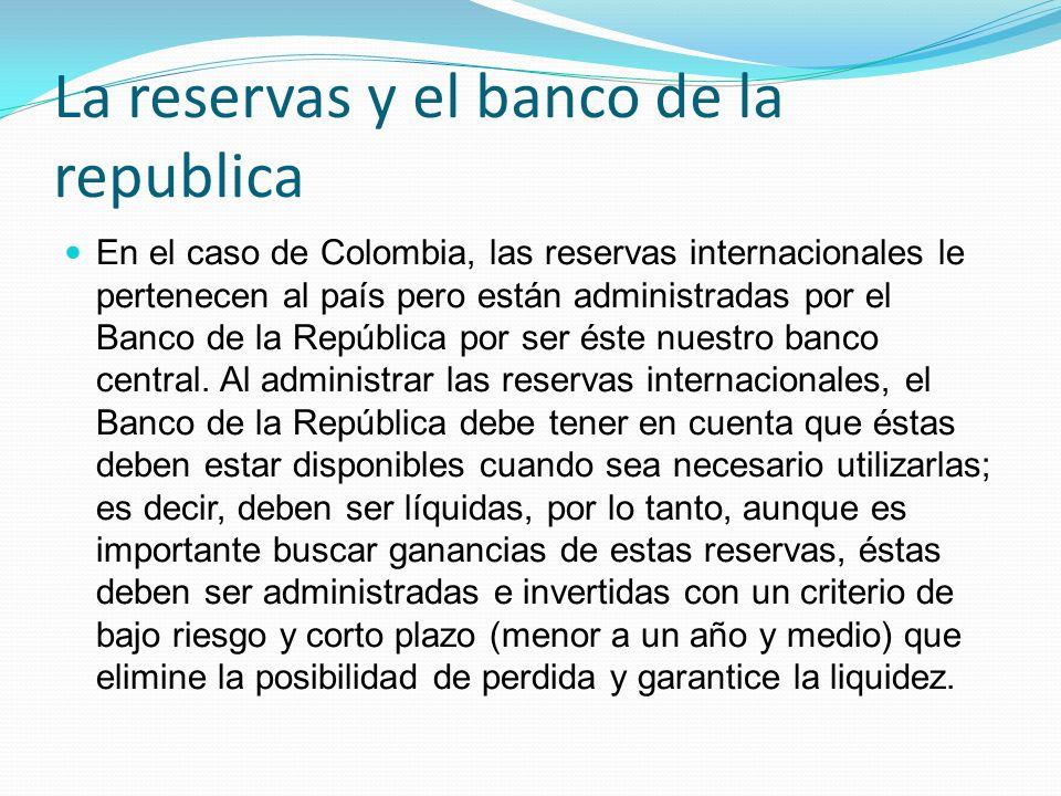 La reservas y el banco de la republica