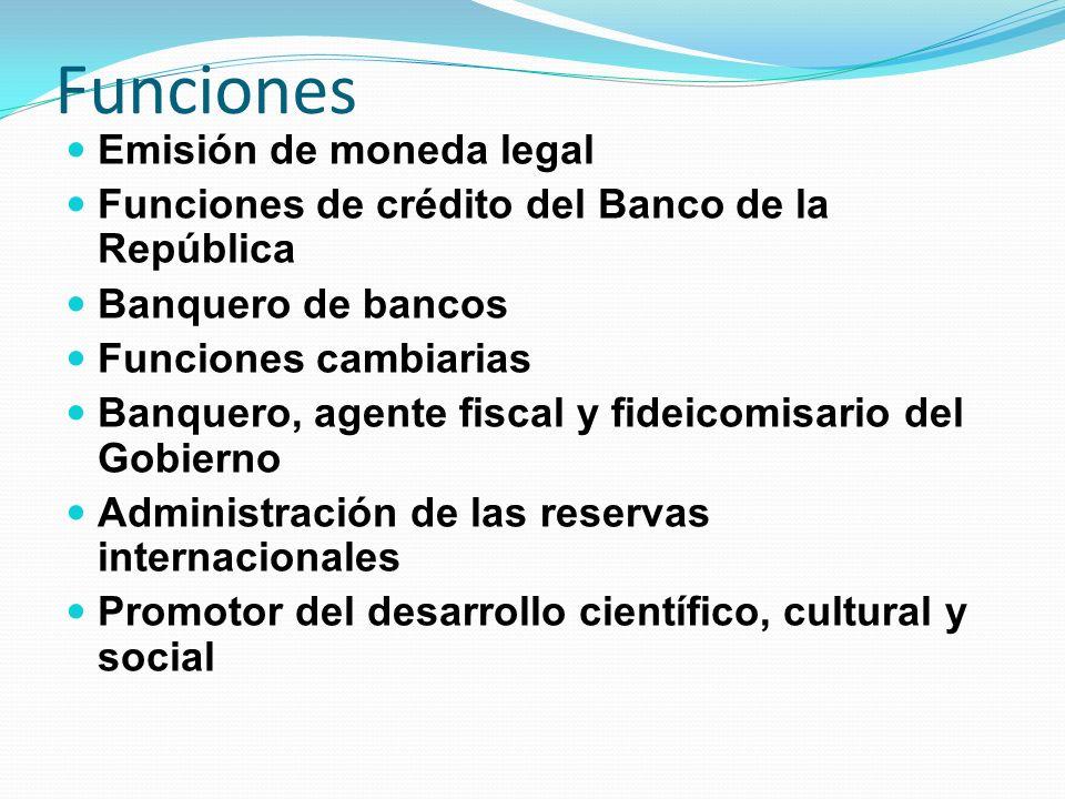 Funciones Emisión de moneda legal