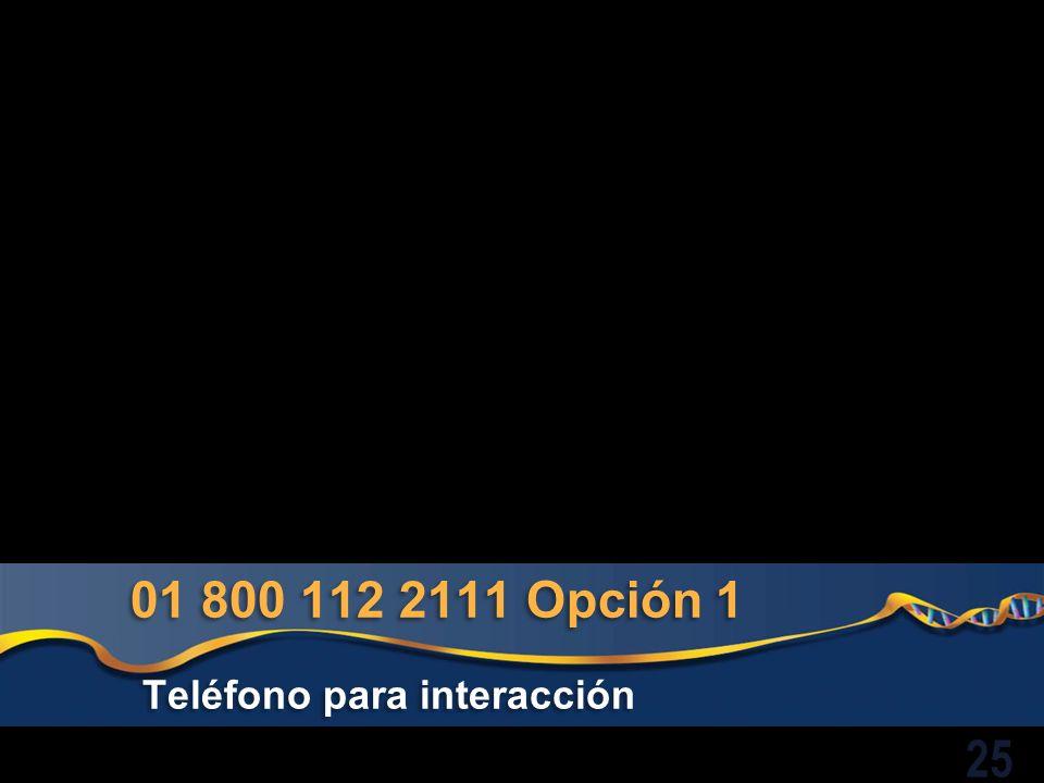 01 800 112 2111 Opción 1 Teléfono para interacción