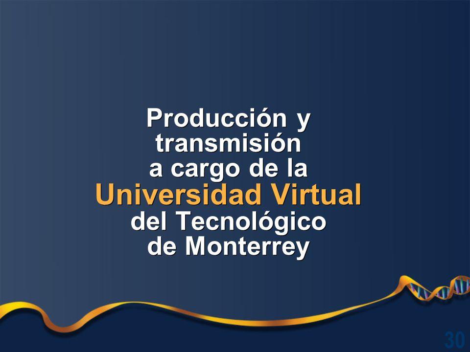 Producción y transmisión a cargo de la Universidad Virtual del Tecnológico de Monterrey