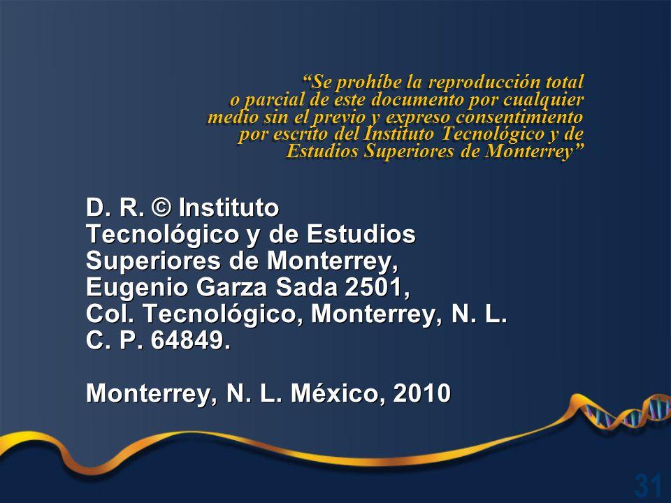 Se prohíbe la reproducción total o parcial de este documento por cualquier medio sin el previo y expreso consentimiento por escrito del Instituto Tecnológico y de Estudios Superiores de Monterrey