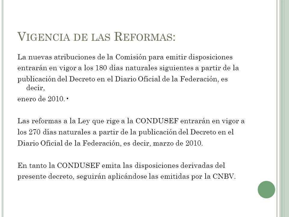 Vigencia de las Reformas: