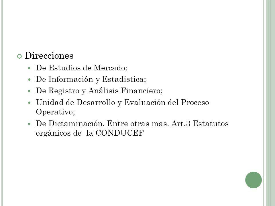 Direcciones De Estudios de Mercado; De Información y Estadística;
