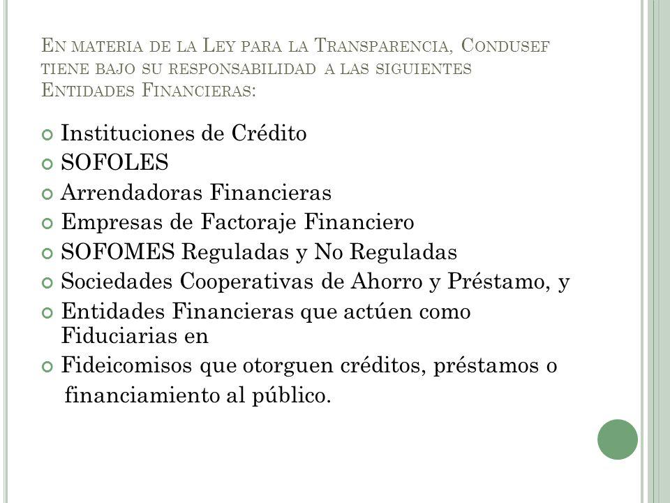 Instituciones de Crédito SOFOLES Arrendadoras Financieras