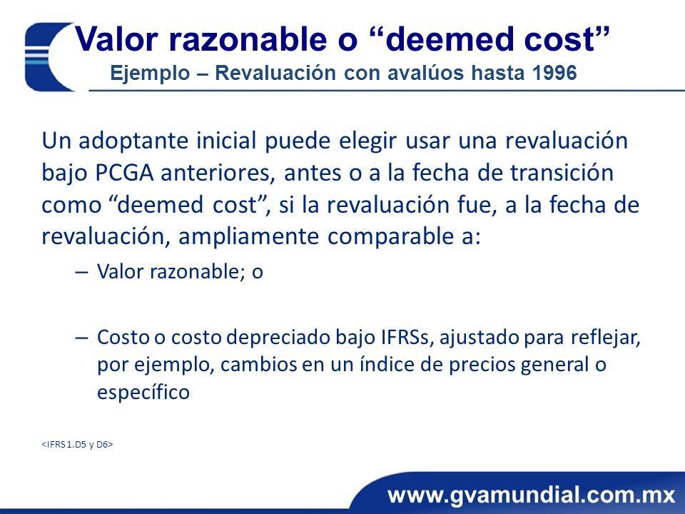 Valor razonable o deemed cost Ejemplo – Revaluación con avalúos hasta 1996