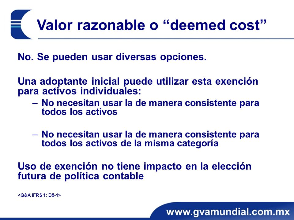 Valor razonable o deemed cost