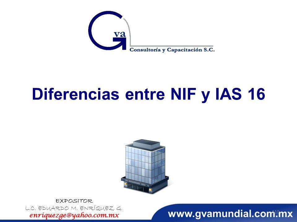Diferencias entre NIF y IAS 16