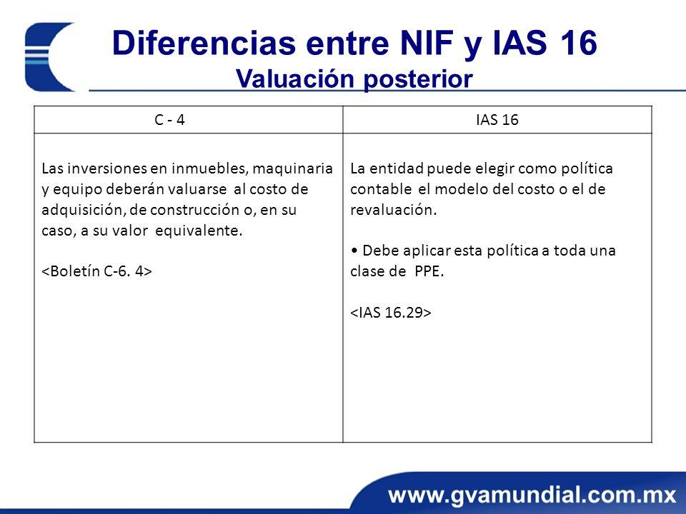 Diferencias entre NIF y IAS 16 Valuación posterior